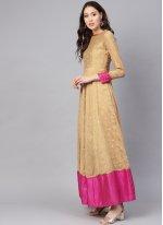 Cotton Beige Embroidered Trendy Anarkali Salwar Suit