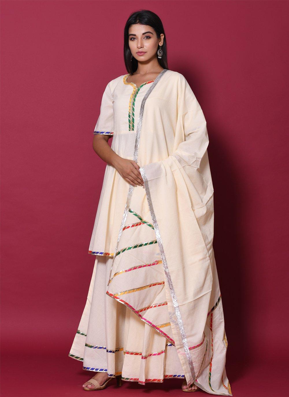 Cotton Beige Readymade Salwar Kameez