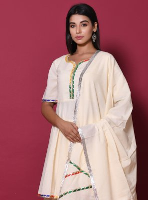 Cotton Beige Readymade Salwar Kameez