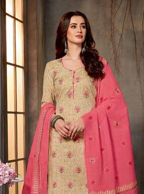 Cotton Beige Salwar Kameez