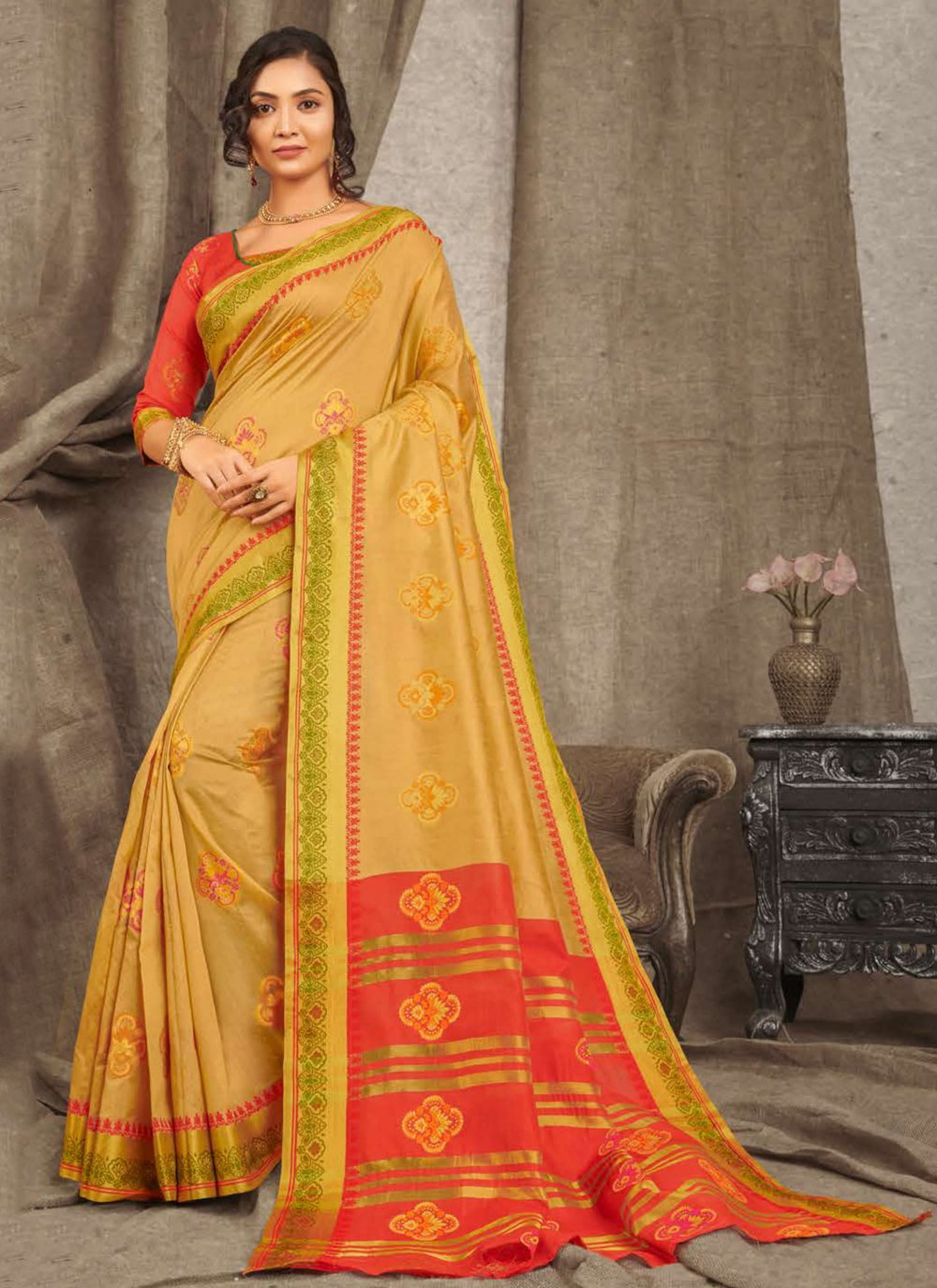 Cotton Beige Traditional Saree