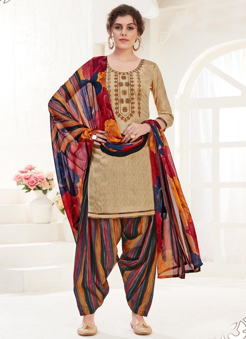 Cotton Beige Trendy Patiala Suit