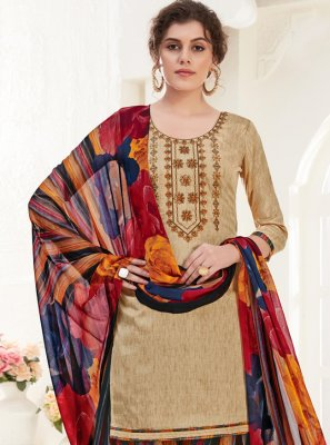 Cotton Beige Trendy Patiala Suit