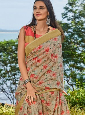 Cotton Beige Trendy Saree