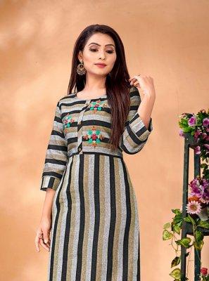 Cotton Black and Grey Thread Work Designer Kurti