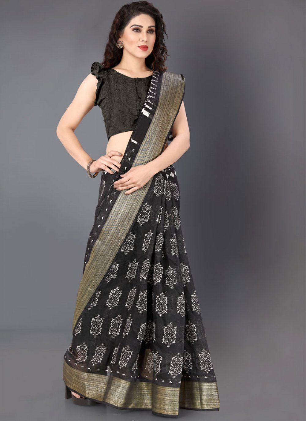 Cotton Black And White Saree Buy Online