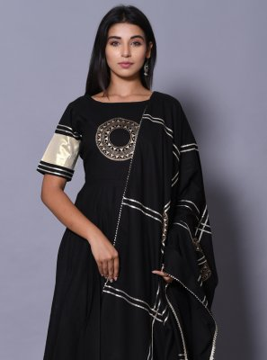 Cotton Black Block Print Readymade Salwar Kameez