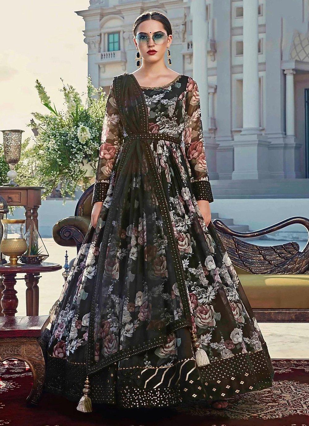 Cotton Black Digital Print Trendy Gown