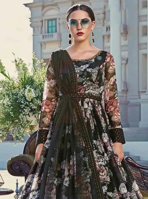 Cotton Black Digital Print Trendy Gown