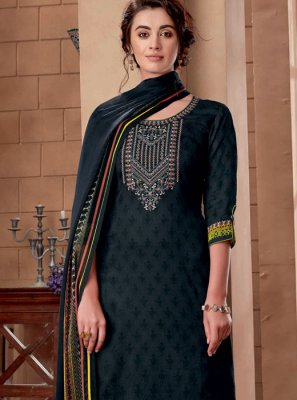 Cotton Black Embroidered Designer Palazzo Suit
