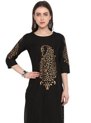 Cotton Black Embroidered Kurta
