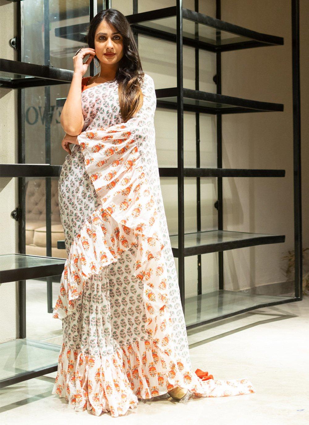Cotton Block Print Contemporary Saree in Off White