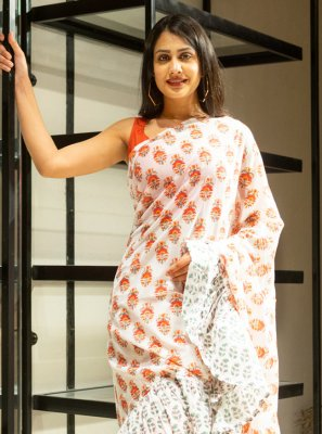 Cotton Block Print Off White Classic Saree