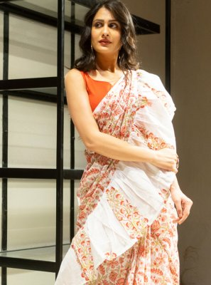 Cotton Block Print Off White Designer Saree