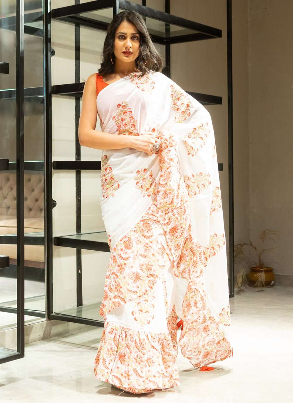 Cotton Block Print Off White Traditional Saree