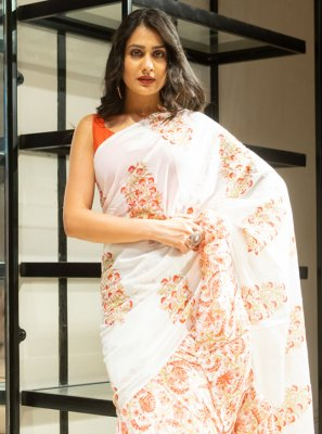 Cotton Block Print Off White Traditional Saree