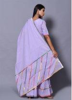 Cotton Block Print Purple Salwar Kameez