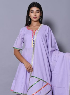Cotton Block Print Purple Salwar Kameez