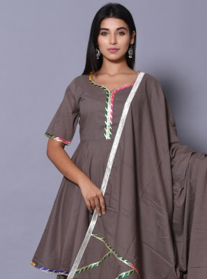 Cotton Block Print Readymade Salwar Kameez in Grey