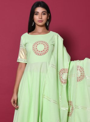 Cotton Block Print Sea Green Salwar Suit