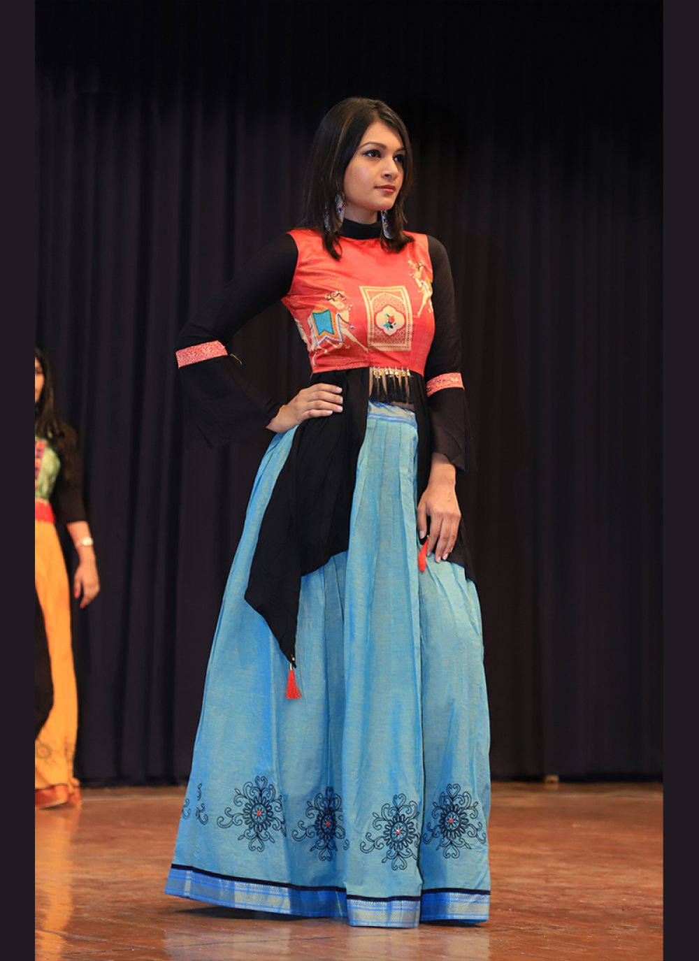 Cotton Blue and Orange A Line Lehenga Choli