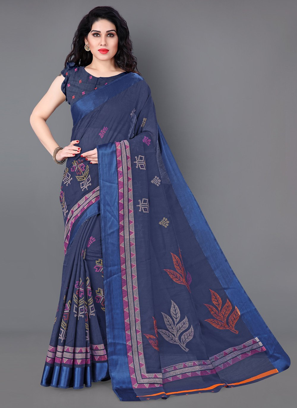 Cotton Blue Casual Saree