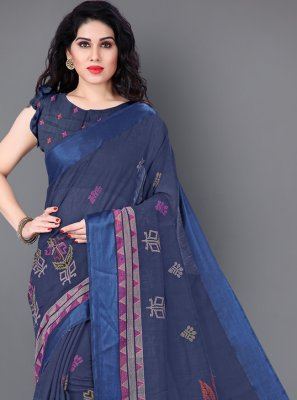 Cotton Blue Casual Saree