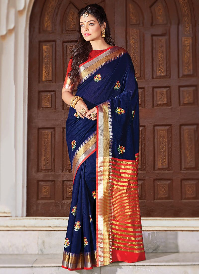 Cotton Blue Embroidered Classic Designer Saree