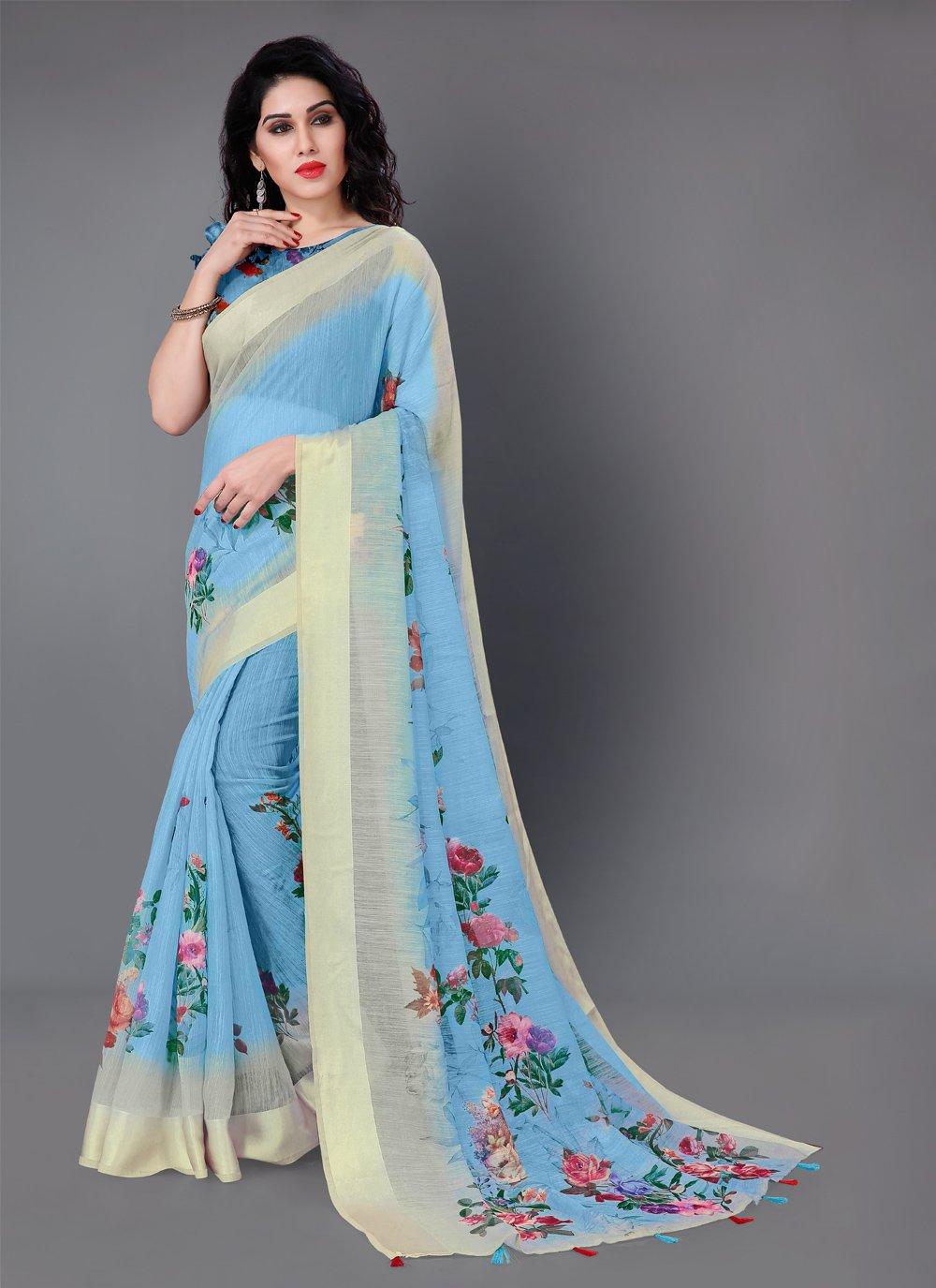 Cotton Blue Floral Print Classic Saree