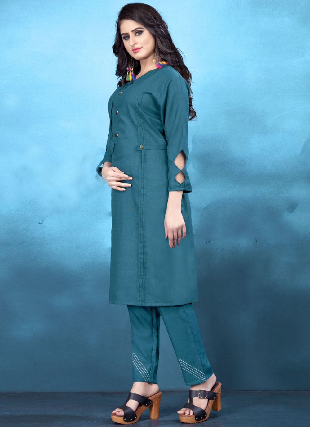 Cotton Blue Plain Designer Kurti