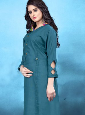 Cotton Blue Plain Designer Kurti