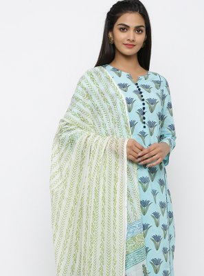 Cotton Blue Print Salwar Suit