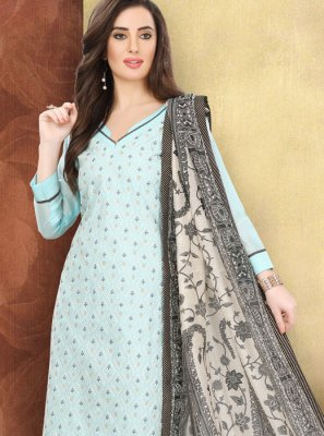 Cotton Blue Printed Churidar Designer Suit
