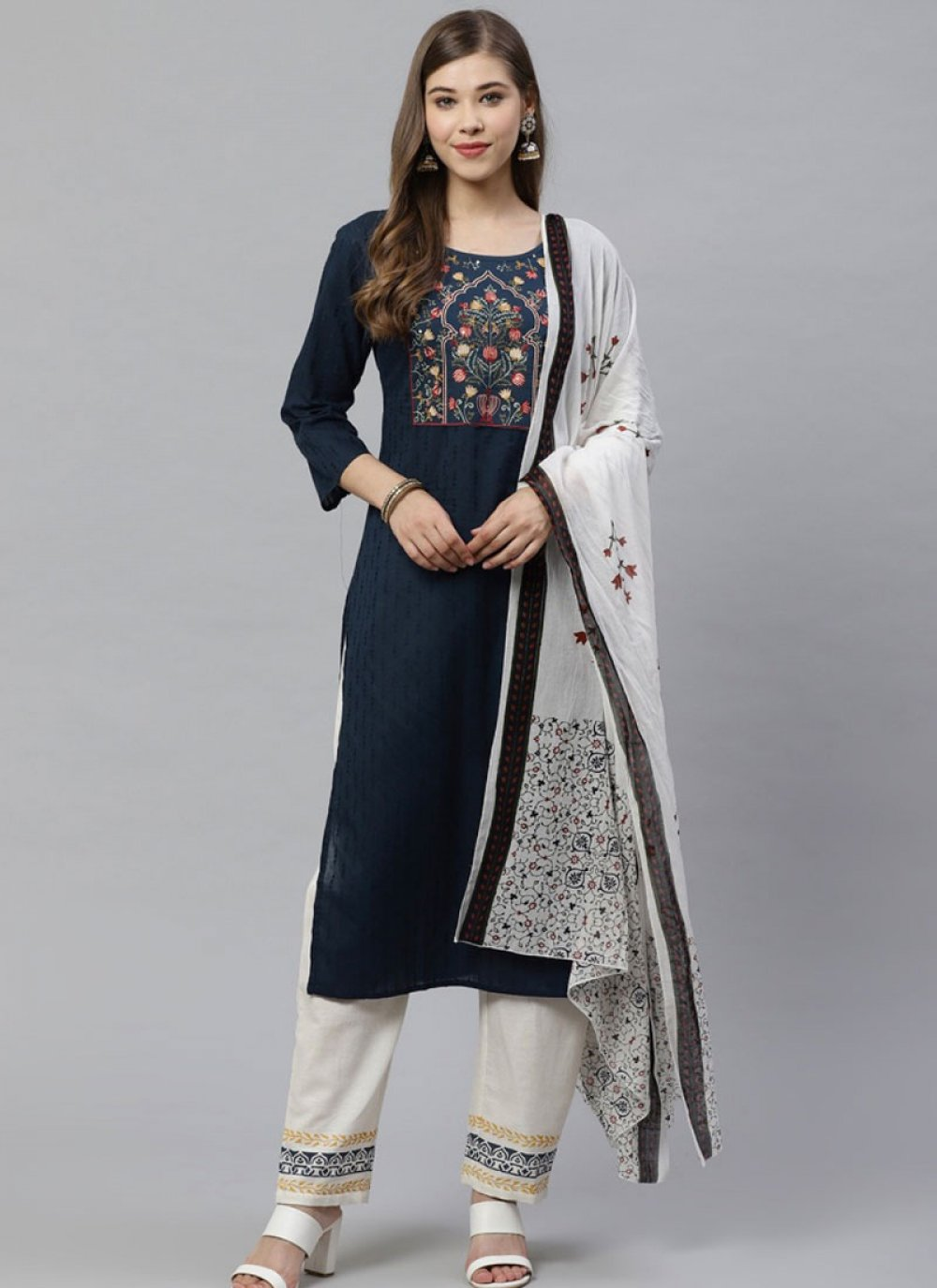 Cotton Blue Printed Designer Salwar Suit