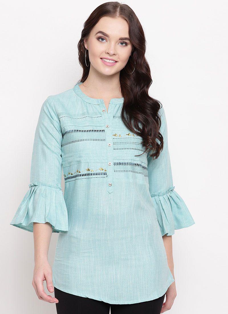 Cotton Blue Printed Party Wear Kurti