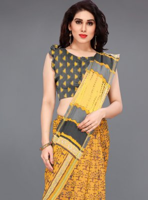 Cotton Bollywood Saree in Mustard