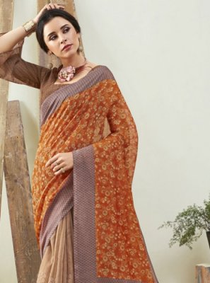 Cotton Brown and Red Digital Print Saree