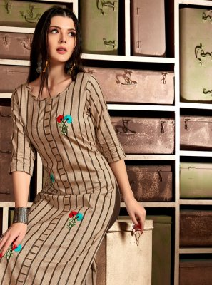 Cotton Brown Embroidered Casual Kurti