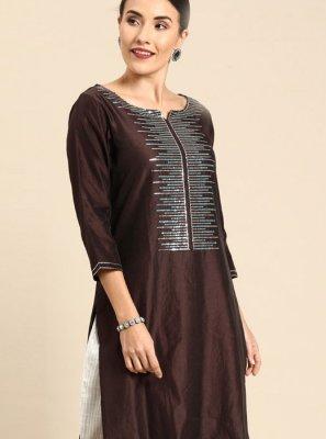 Cotton Brown Print Designer Kurti