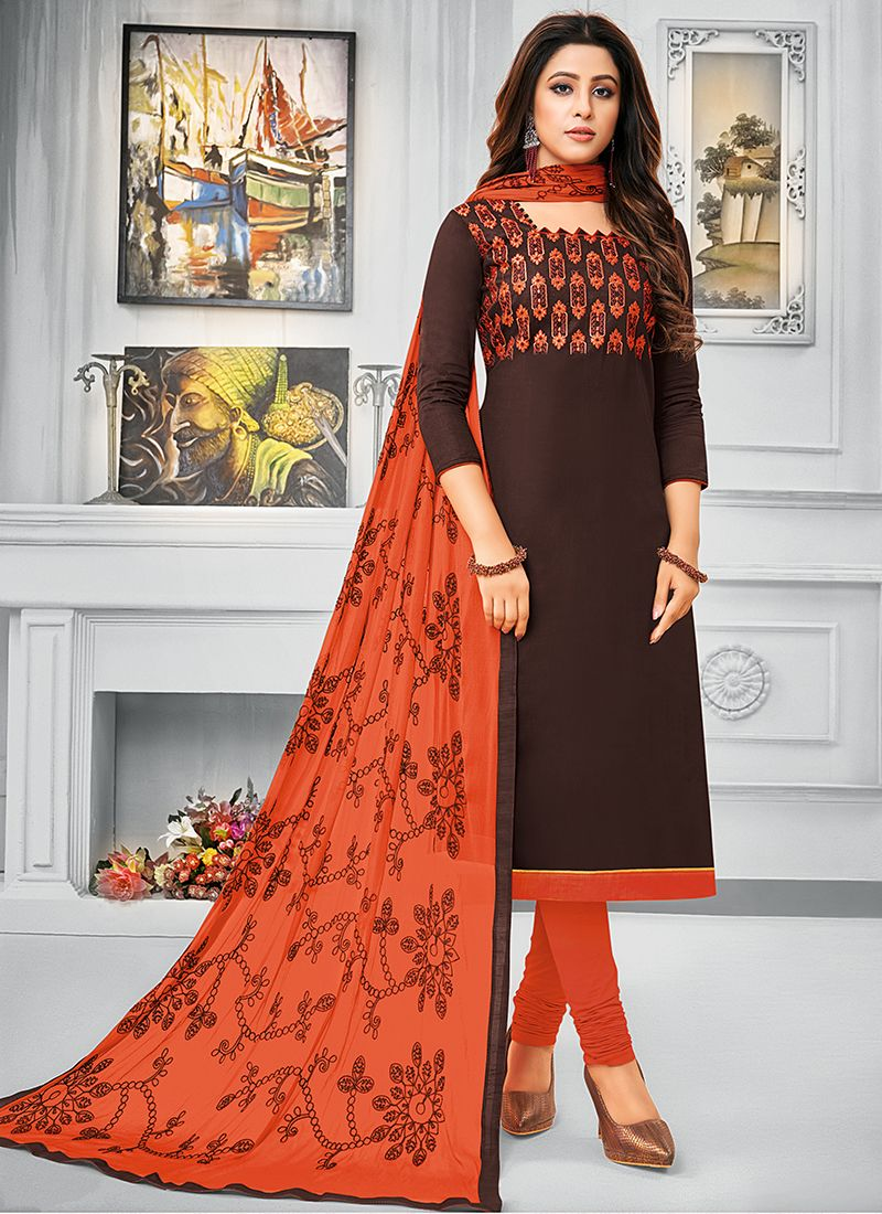 Cotton Brown Resham Salwar Kameez