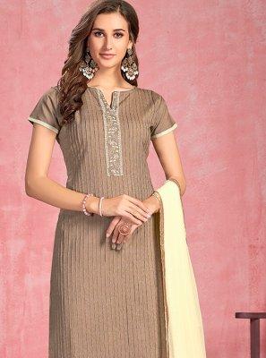 Cotton Brown Thread Work Salwar Suit