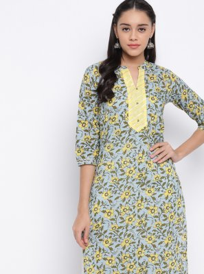 Cotton Casual Kurti in Grey