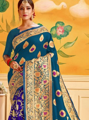 Cotton Casual Saree in Blue and Firozi