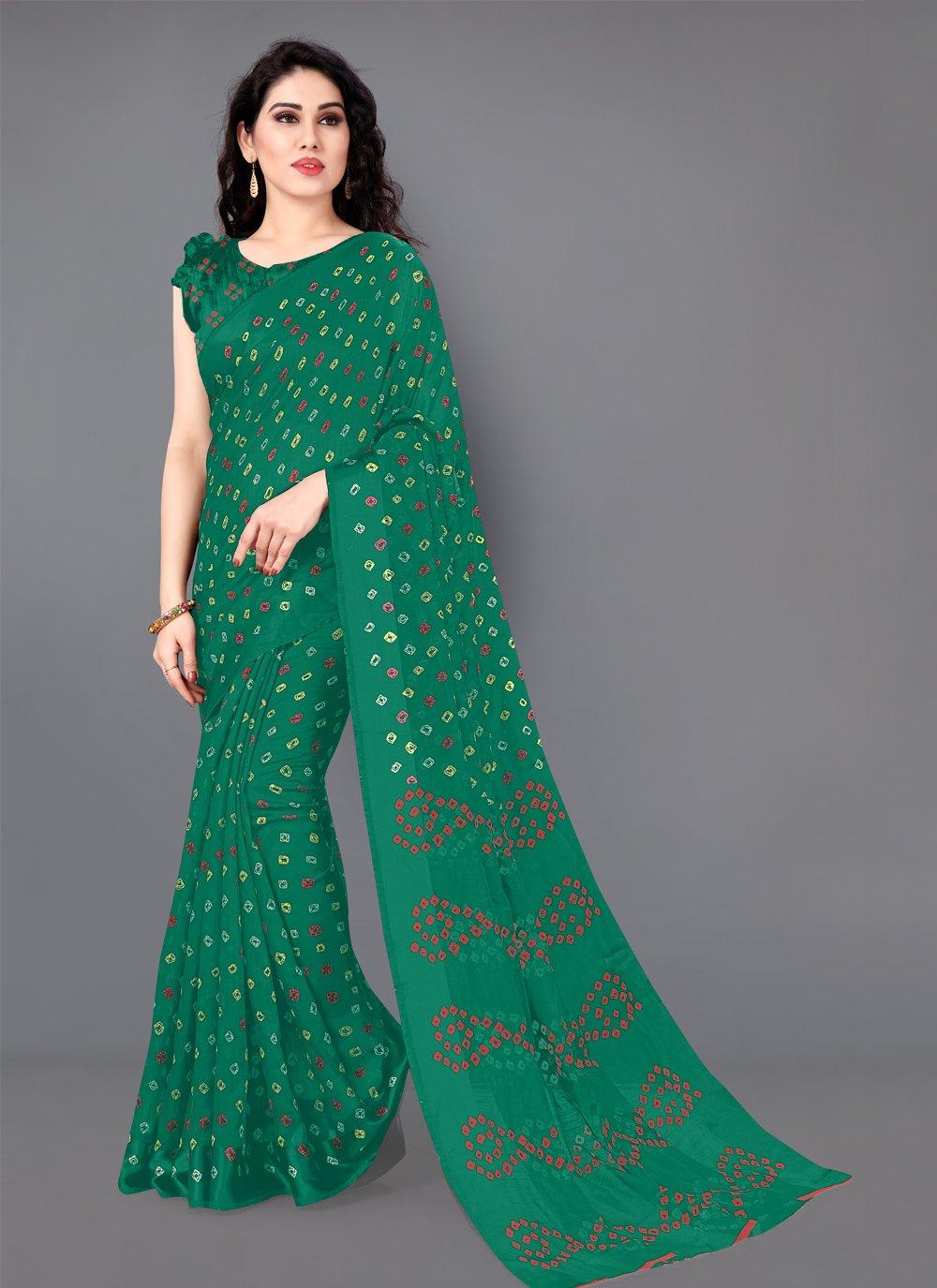 Cotton Casual Saree in Green
