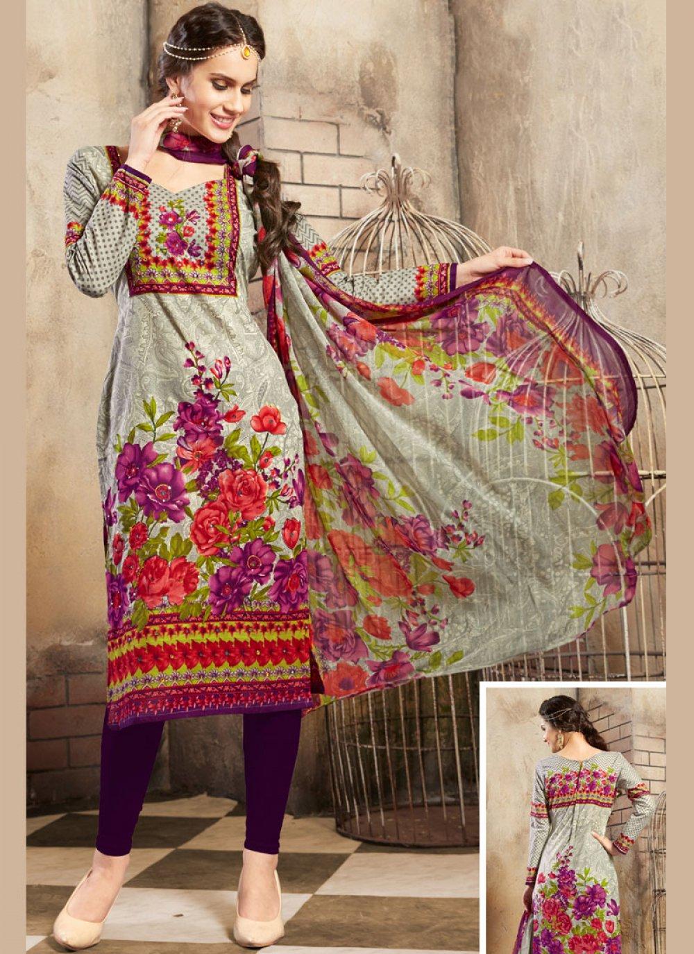 Cotton Churidar Salwar Kameez in Grey
