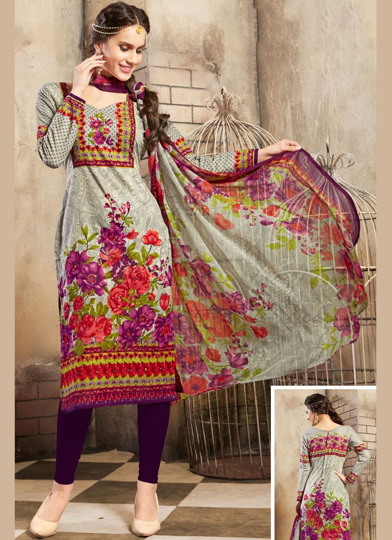 Cotton Churidar Salwar Kameez in Grey