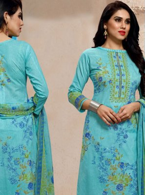 Cotton Churidar Salwar Suit in Aqua Blue
