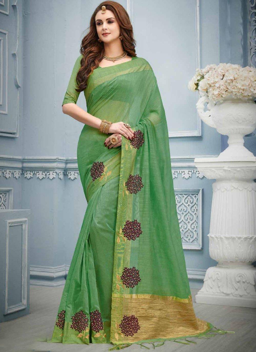 Cotton Classic Designer Saree in Green