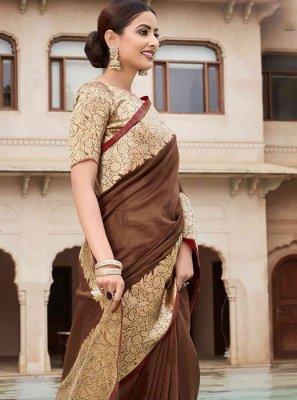 Cotton Classic Saree in Brown