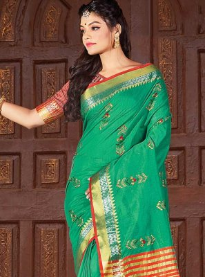 Cotton Classic Saree in Green